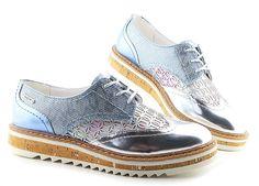 Štýlové dámske modro-strieborné topánky BUGATTI