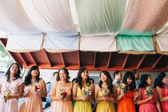 hand sewn #DIY over hanging #colorful cloths over the dance floor. #tent #diabloranch