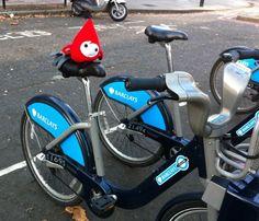 Tinsel jumps on a Boris Bike to travel around London to promote Text Santa!