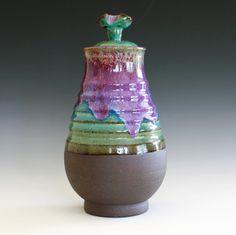 Ceramic Vase with Lid Ceramic Vessel by ocpottery on Etsy Pottery Vase, Ceramic Pottery, Ceramics Projects, Ceramics Ideas, Ceramic Pitcher, Flower Vases, Flowers, Vases Decor, Clay Art