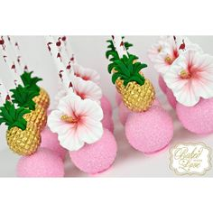 Pineapple & hibiscus flower cake pops for a tropical themed baby shower ? Luau Cake Pops, Flower Cake Pops, Luau Cakes, Hawaiian Cake Pops, Flower Cookies, Hawaiian Baby Showers, Luau Baby Showers, Baby Shower Themes, Shower Ideas