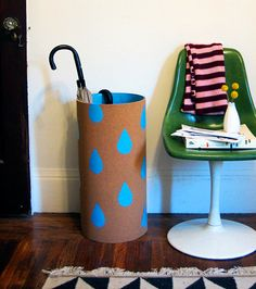 DIY umbrella caddy. Get affordable materials at Home Depot to create this design! via @designspong