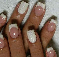 40 Ideas For Wedding Nail Designs Bride Nails Bridal Nails Use Iridescent White Glitter White Tips Fully Dipped In Glitter 48 Best Wed. Cute Nails, Pretty Nails, My Nails, Prom Nails, Nagel Tattoo, French Tip Nail Art, French Manicure With Glitter, French Manicure With A Twist, Glitter French Tips