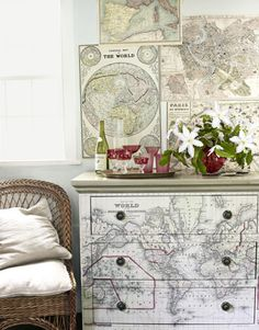 Chest of drawers customized/revived with decoupage and old maps.