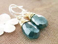 Green Mystic Onyx Earrings Wire wrapped by thelittlehappygoose, $32.00
