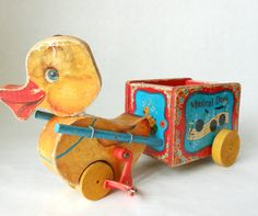 Vintage Fisher Price Musical Duck and Wagon