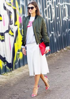 midi-skirt, jacket-bomber