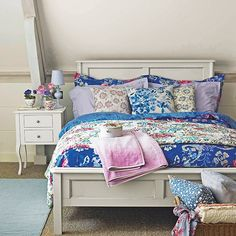 Bedroom with painted bedstead