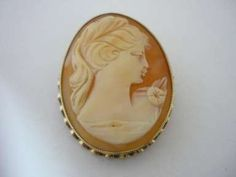 Brooches : Vintage Large Designer Gold Cameo Brooch By E. Clewley & Co Gold Brooches, Fine Jewelry, Gemstone Rings, Gemstones, Vintage, Design, Gems, Jewels