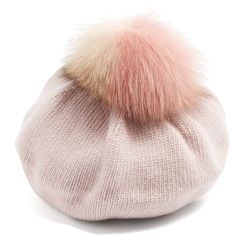 Miu Miu Fur-pompom wool and cashmere-blend beret (1 525 PLN) ❤ liked on Polyvore featuring accessories, hats, pink, slouchy hat, wool beret hat, wool hat, wool berets and fur pom pom hat