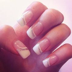 Wedding french nails - My wedding ideas - Nail Art Design Glitter French Nails, French Manicure Nails, French Nail Art, Manicure E Pedicure, French Tip Nails, French Tips, Manicure Ideas, Silver Nails, Gel Manicures