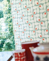 To our kitchen! Just ordered it from Tapetorama!  Multi Acorn Spot Blue/Red från Orla Kiely