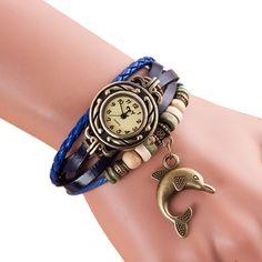 Vintage Bracelet Watch Women Montre New Fashion Dolphin Pendant Quartz Wristwatch Women's Dress Clock Hour Relogio Feminino