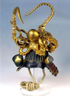 museum-of-artifacts: Samurai helmet (kabuko) shaped like an octopus. About century, Japan. Kabuto Samurai, Ronin Samurai, Samurai Helmet, Samurai Armor, Arm Armor, Japanese Warrior, Japanese Sword, Katana, Peabody Museum