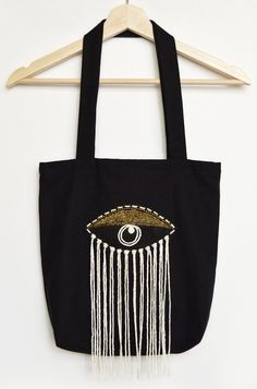 Evil Eye original embroidered beaded tote bag 100% cotton black gold