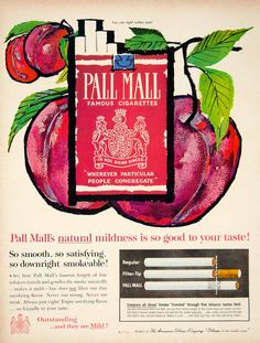 1961 Ad Vintage Pall Mall Famous Cigarettes American Tobacco Cherries Smoking