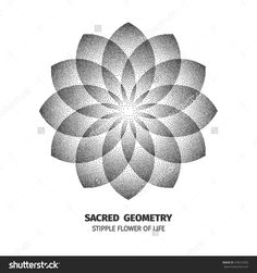 stock-vector-flower-of-life-isolated-dotted-sign-pointillism-sacred-geometry-sym. - stock-vector-flower-of-life-isolated-dotted-sign-pointillism-sacred-geometry-symbol-halftone-design- - Dot Work Mandala, Geometric Mandala Tattoo, Mandala Flower Tattoos, Geometric Sleeve, Mandala Tattoo Design, Geometric Tattoos, Dot Tattoos, Bild Tattoos, Dot Work Tattoo