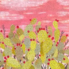 'Prickly Pear' cactus by Becca Stadtlander Art And Illustration, Illustrations, Cactus Illustration, Cactus Art, Cactus Flower, Pink Painting, Gouache Painting, Artist Painting, Desert Art