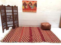 Vintage Moroccan Wool Straw Rug 6x8 Vintage Moroccan hassira carpet Berber mat rug