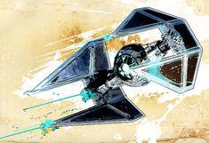 Tie Fighter Star Wars spaceship illustration - Poster size Art print on Canvas 18x24
