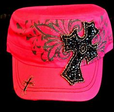 Beaded Cross Cadet Cap Dark Pink