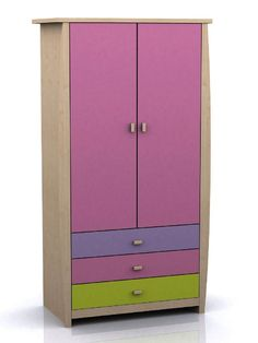 pink and green wardrobe | Sydney Girls Lilac & Pink & Green 2 Door 3 Drawer Wardrobe