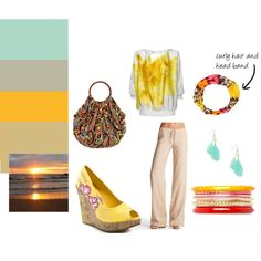 beach sunset, created by picasso-pf on Polyvore
