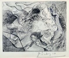 'Woman and Dragon', by Pablo Picasso (etching print)