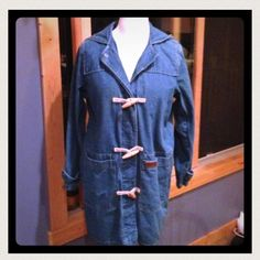 ☀️ SALE Dress Barn Denim Jacket Beautifully lined, hooded denim jacket w/removable soft fleece lining.  Great for Fall, Winter or Spring.  I purchased this from another great Posher and have never worn it so I need to thin out my inventory!  This is a  longer jacket with hidden buttons on the front with toggle fasteners.  Large pockets, only worn twice by previous seller.  100% cotton and is a roomy large.  Wonderful quality!! Dress Barn Jackets & Coats