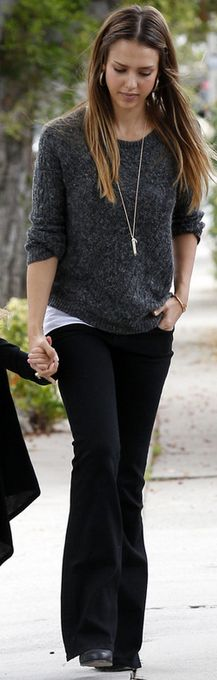 Who made  Jessica Alba's gray sweater and jewelry that she wore in Los Angeles on June 24, 2013?