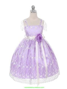 Lilac Fancy Colorful Lace Flower Girl Dress