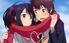 Anime Your Name.  Taki Tachibana Mitsuha Miyamizu Kimi No Na Wa. Fondo de Pantalla