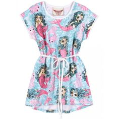Paper Wings Mermaids Girls Tee Dress This is the cutest dress that little girls love to wear featuring mermaids all over the dress. tie at the waist. A-line cut and very comfortable. Zara Fashion, Kids Fashion, Fashion 2020, Cute Dresses, Girls Dresses, Summer Dresses, Stylish Outfits, Kids Outfits, Trendy Girl