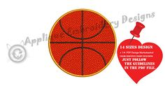 Basketball Ball Applique Embroidery Design Sports Embroidery