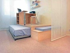 bed on rollers and room divider, teenage room design