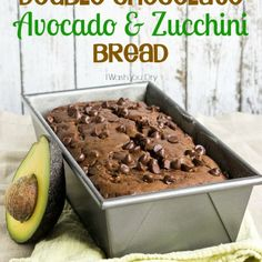 Use up those extra zucchini in this Double Chocolate Avocado and Zucchini Bread! The avocado replaces half of the butter! Chocolate Chip Zucchini Bread, Chocolate Avacado, Chocolate Chocolate, Utah, Bake Sale Treats, Snacks, Dessert Recipes, Desserts, Sweet Bread
