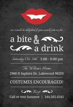 Vampire Fangs Halloween Party Invitation by InviteShop.com. This would be cute for a #halloweenbacheloretteparty #halloween #halloweeninvitations