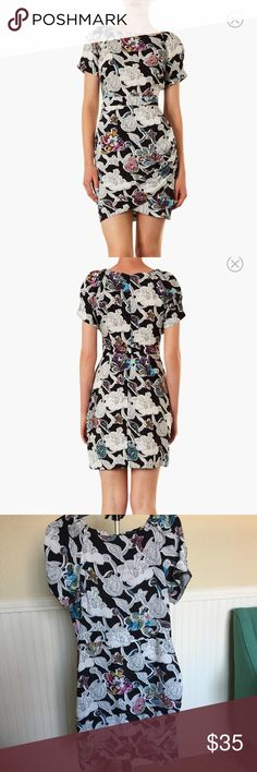 """Topshop Dixie Print dress, size 6 US (runs small). NEW! With Tags! A color-tinged floral print cap-sleeve dress shaped by a banded waist and figure-flattering tulip skirt.  36"""" length (size 8 - fits like a size 6). Hidden back-zip closure. Unlined. 100% viscose rayon. Topshop Dresses Mini"""