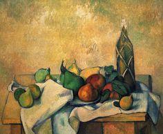Still life, bottle of rum - Paul Cezanne   #cezanne #paintings #art