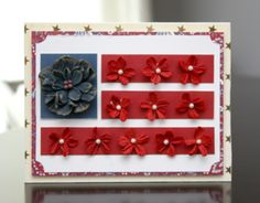 What a cute little Flower Flag Card from Alice Carman!  It has been created with Petaloo Darjeeling flowers made from recycled cotton paper!  Come to the Petaloo Blog to see it now!