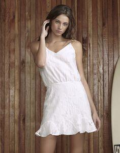 Vestido com Alças Tule Bordado Branco - Lez a Lez