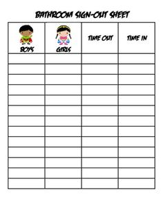 Bathroom Sign Out Sheet  Abc    School School