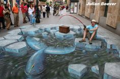 Street Art, often known as Chalk Art, is artwork drawn on the street itself that gives people a optical illusion from a… 3d Street Art, Street Art Graffiti, Street Artists, Graffiti Artists, Illusion Kunst, Illusion Art, Street Painting, 3d Painting, Op Art
