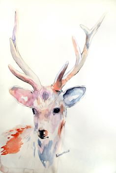 Deer original watercolor painting. Unusual present, unique gift. Water color wall art. Contemporary watercolour drawing. Water colour art. by AlisaAdamsoneArt on Etsy https://www.etsy.com/listing/269361490/deer-original-watercolor-painting