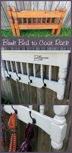 20+ Creative Ideas and DIY Projects to Repurpose Old Furniture --> Repurpose bunk bed into a small shelf and coat rack