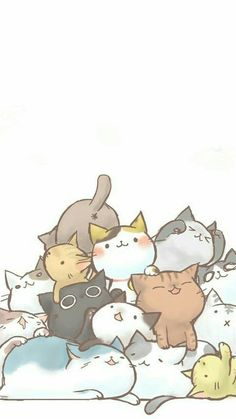 Wallpaper for cat lovers - background - # - Katzen - Cat Wallpaper Cute Cat Drawing, Cute Animal Drawings, Kawaii Drawings, Cute Drawings, Cute Cat Wallpaper, Kawaii Wallpaper, Cute Wallpaper Backgrounds, Iphone Backgrounds, Photo Chat