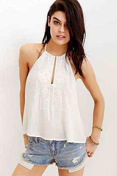 Ecote Embroidered Tunnel Halter Top - Urban Outfitters