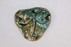 Ceramic Pendant handmade stoneware clay dragonfly by potterygirl1