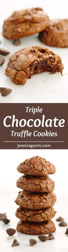 Triple Chocolate Truffle Cookies - This recipe contains semi-sweet, bittersweet and unsweetened chocolate that make for a fudge cookie with a crisp meringue-like exterior that dissolves with each bite. via @foodiegavin