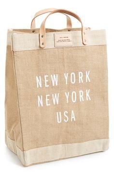 Apolis 'New York New York' Market Bag available at - Glam Gifts Burlap Bags, Jute Bags, Cute Tote Bags, Reusable Tote Bags, Ethnic Bag, Moda Boho, Market Bag, Everyday Bag, Summer Bags